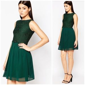 ASOS Club L forest green lace overlay dress sz 8